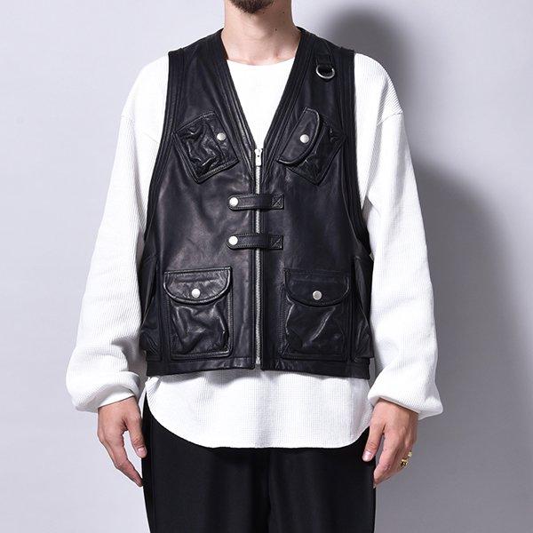 rin / All Leather Combat Vest BK