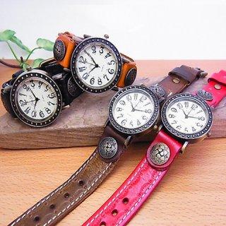 レザー腕時計・ストレートベルト (名入れ焼印) アンティーク調 【4色】