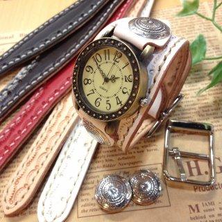 レザー腕時計 (手縫い・太幅ベルト) アンティーク調デザイン 【全5色】