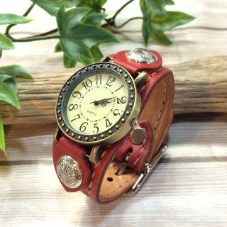 レザー腕時計 (手縫い・細幅ベルト) アンティーク調デザイン 【全5色】