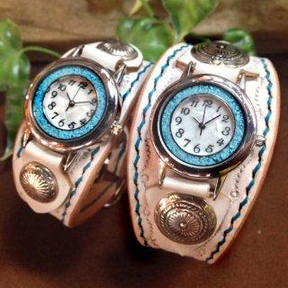 レザー腕時計・手縫いベルト (名入れ焼印) ターコイズ・ペア限定色