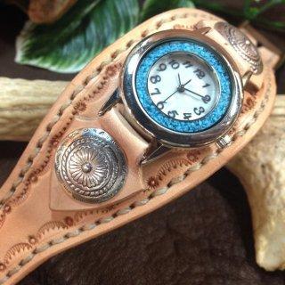 レザー腕時計 (手縫い・太幅ベルト) ターコイズ 【全5色】