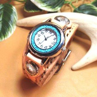レザー腕時計 (手縫い・細幅ベルト) ターコイズ 【全5色】