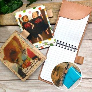 写真プリントで作る・本革 メモ帳ケース(A7サイズ)  【両面に追加写真OKタイプ】