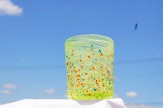 琉球グラスカラーレインボー(ロック)&コルクコースターセット