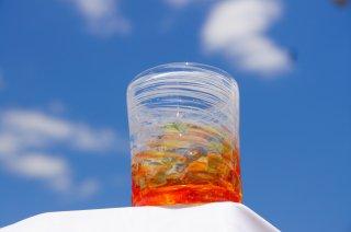 琉球グラスホワイトチップ(ロック)&コルクコースターセット
