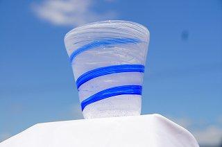 琉球グラスマーブル(ブルー)&コルクコースターセット