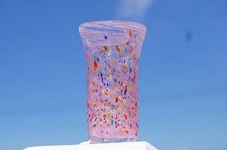 琉球グラスカラーレインボー(ロング)&コルクコースターセット