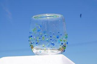 琉球グラス美ら海(丸)&コルクコースターセット