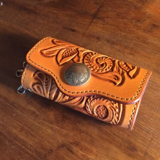 【Western Leather/ウエスタン・レザー】レザーキーケース コンチョ カービング タン