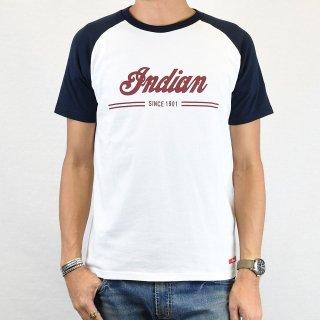 【Indian Motocycle】 インディアンモトサイクル ラグラン リンガーTシャツ