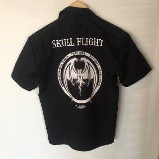 【SKULL FLIGHT/スカルフライト】 半袖ワークシャツ コウモリ