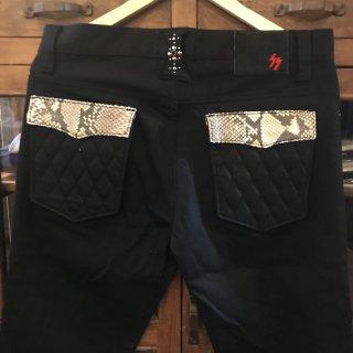 【SKULL FLIGHT/スカルフライト】 パイソンフラップ ブラックSS PANTS type2 ストレッチブーツカット