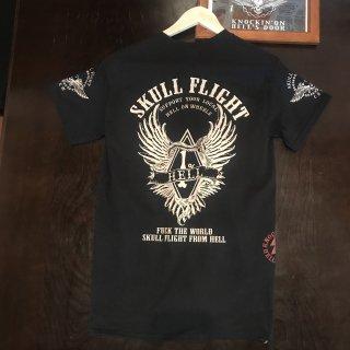 【SKULL FLIGHT】1%wing ベージュプリント サイドジップTシャツ スカルフライト