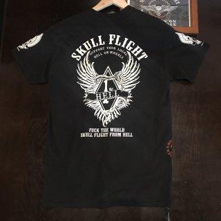 【SKULL FLIGHT】1%wing 白プリント サイドジップTシャツ スカルフライト