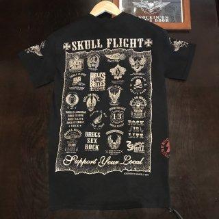 【SKULL FLIGHT】ベージュプリントAll emblem サイドジップTシャツ スカルフライト