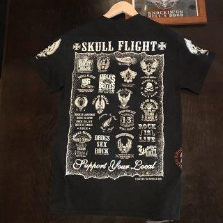 【SKULL FLIGHT】白プリントAll emblem サイドジップTシャツ スカルフライト