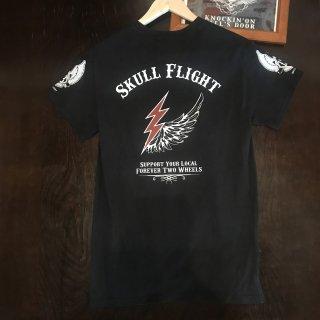 【SKULL FLIGHT】 イナズマ サイドジップTシャツ スカルフライト