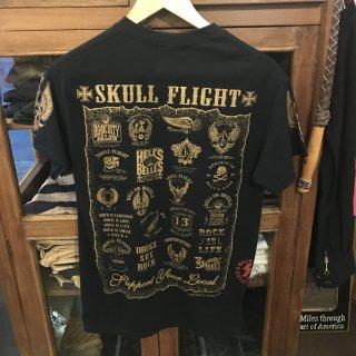 【SKULL FLIGHT】ゴールドプリントAll emblem サイドジップTシャツ スカルフライト