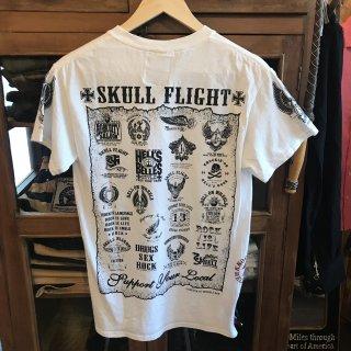 【SKULL FLIGHT】All emblem ホワイトサイドジップTシャツ スカルフライト