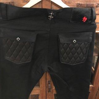【SKULL FLIGHT/スカルフライト】SS PANTS type2 ブラック レザーポケット ブーツカット