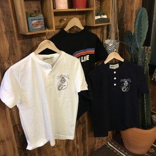 【CALIFORNIA LINE】 ヘンリーネックレインボーラインTシャツ 3色 カリフォルニアライン