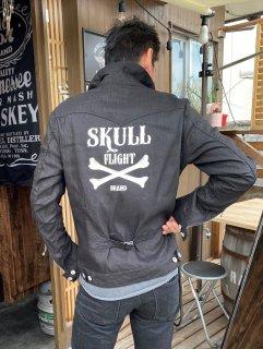 【SKULL FLIGHT】ブラック クロスボーン リネンGジャケット スカルフライト