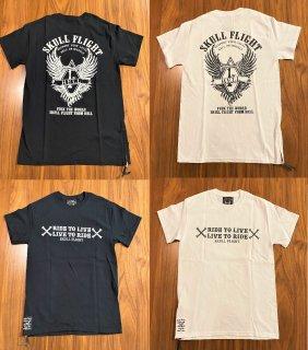 【SKULL FLIGHT】1%スネークウイング 2カラー サイドジップTシャツ スカルフライト
