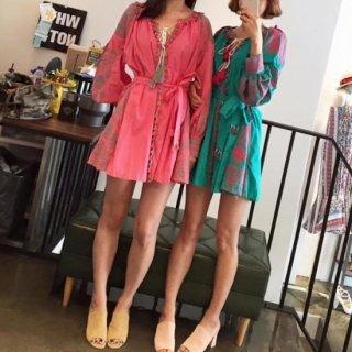 リゾート ワンピース ミニ 長袖 刺繍 ボリューム袖 ビーチ カバー /緑/ベージュ/オレンジ/ピンク