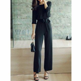 リゾート オールインワン コーデ 結婚式 エレガント シンプル ワイド パンツ ドレス 黒 七分袖