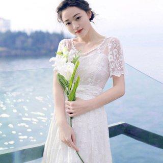 リゾート ウェディング ドレス 半袖 ロング アンティーク風 レース BOHO ボーホー