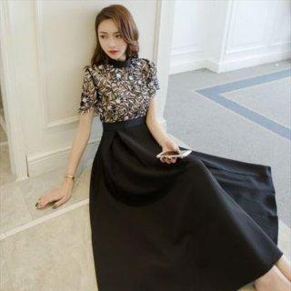 リゾート ドレス ワンピース コーデ パーティー ディナー ロング 半袖 フレア 大人 上品 個性的 レース ハイウエスト 切替 大きいサイズ 黒