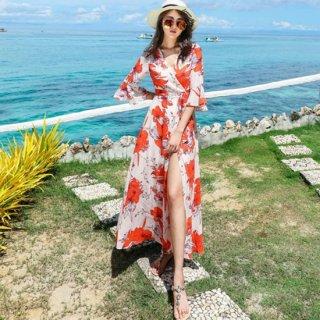 リゾート 旅行 マキシワンピース ラップドレス 七分袖 カシュクール 花柄 スリット 大人 3色