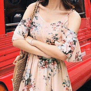 リゾート 旅行 ワンピース 花柄 フラワープリント オフショルダー シフォン ガーリー ピンク