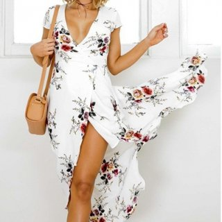 リゾート 旅行 マキシワンピース ラップドレス 大人 花柄 フラワープリント 白