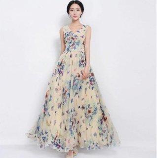 リゾート 旅行 パーティー リゾートウェディング ゲストドレス マキシワンピース 蝶 バタフライ 4色
