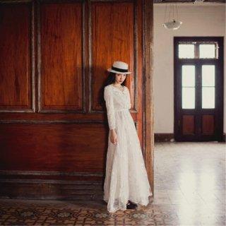フォトウェディングのドレスにもおすすめ◇ナチュラルなホワイトレースワンピース