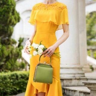リゾートスタイルにおすすめの鮮やかカラー◇半袖マーメイドワンピース 2色