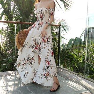 フロントスリットで美しいシルエット♪オフショルダー 花柄マキシワンピース