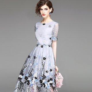 繊細な刺繍が上品華やか◇ミディ丈ドレス ワンピース 大きいサイズ