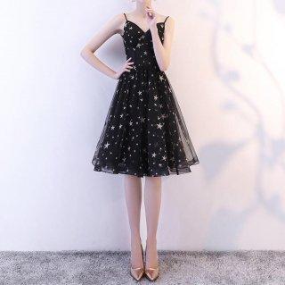 パーティーシーンに♪星柄&チュール 膝丈フレアワンピース ドレス