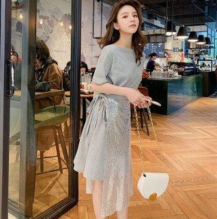 スパンコールスカートで輝きをプラス◇2WAY 半袖カットワンピース  2色