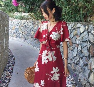 大人の花柄リゾートワンピ◇フレアスリーブ マキシワンピース 2色