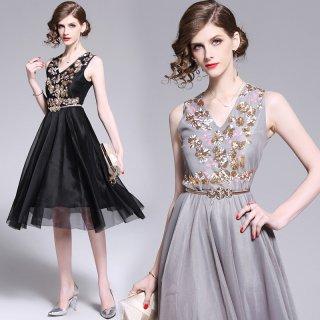 パーティーシーンにおすすめ◇ノースリーブ フレアワンピース ドレス 2色