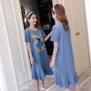 裾フリルでガーリーに♪カジュアル ロゴプリントTシャツワンピース 2色