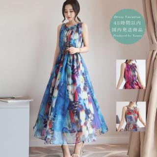 【即納】花柄プリントの総柄シフォン ロング リゾート ワンピース 3色