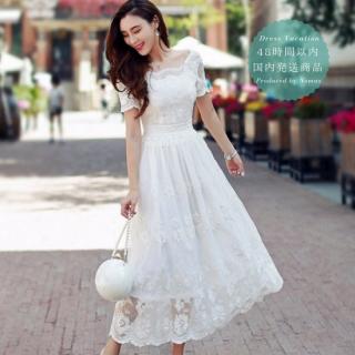 【即納】リゾート マキシワンピース コーデ アンティーク風 ホワイト 白 レース 半袖 ドレス