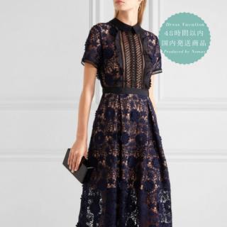 【即納】リゾート婚のゲストドレスに 清楚な襟付き総レースの半袖ミモレ丈ワンピース
