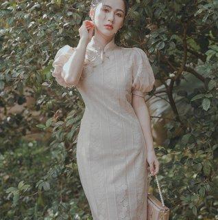 大人かわいいチャイナドレスデザイン◇パフスリーブ 膝丈ワンピース