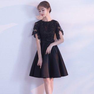 パーティーやウェディングに◇レース切り替え フレアワンピース ドレス 大きいサイズあり